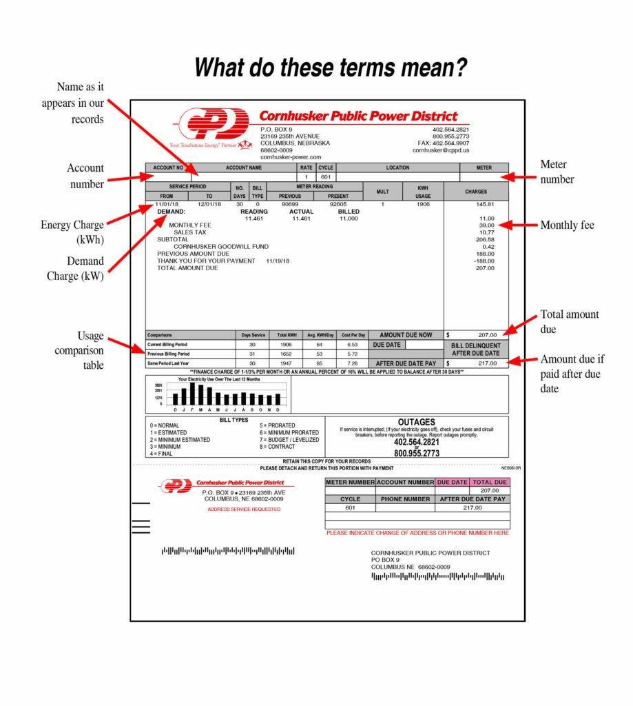 Example of a Cornhusker Public Power bill